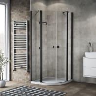 Box doccia semicircolare battente 79.5 x 80 cm, H 201.7 cm in alluminio e vetro, spessore 6 mm trasparente nero