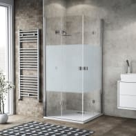 Box doccia pieghevole 120 x 80 cm, H 200 cm in vetro, spessore 6 mm serigrafato cromato