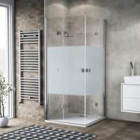 Box doccia pieghevole 70 x 90 cm, H 200 cm in vetro, spessore 6 mm serigrafato cromato