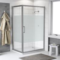 Box doccia angolare porta scorrevole e lato fisso rettangolare Quad 120 x 70 cm, H 190 cm in vetro temprato, spessore 6 mm serigrafato argento