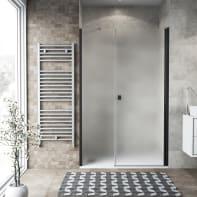 Box doccia battente 120 x 70 cm, H 200 cm in vetro, spessore 6 mm spazzolato nero