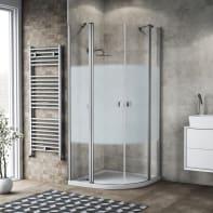 Box doccia semicircolare battente 79.5 x 80 cm, H 201.7 cm in alluminio e vetro, spessore 6 mm serigrafato argento