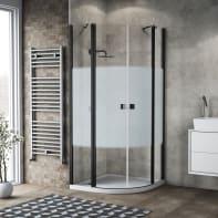 Box doccia semicircolare battente 79.5 x 80 cm, H 201.7 cm in alluminio e vetro, spessore 6 mm serigrafato nero