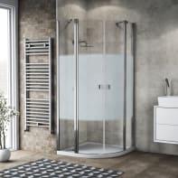 Box doccia semicircolare battente 79.5 x 80 cm, H 201.7 cm in alluminio e vetro, spessore 6 mm serigrafato cromato