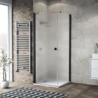 Box doccia battente 90 x 80 cm, H 200 cm in vetro, spessore 6 mm spazzolato nero