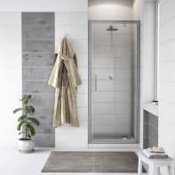 Porta doccia battente Quad 80 cm, H 190 cm in vetro, spessore 6 mm trasparente cromato