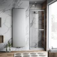 Porta doccia pieghevole Namara 90 cm, H 195 cm in vetro temprato, spessore 8 mm trasparente satinato