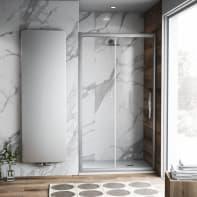 Porta doccia scorrevole Namara 140 cm, H 195 cm in vetro temprato, spessore 8 mm trasparente satinato
