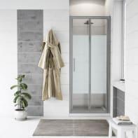 Porta doccia pieghevole Quad 80 cm, H 190 cm in vetro, spessore 6 mm serigrafato cromato