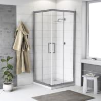 Box doccia quadrato scorrevole Quad 90 x 90 cm, H 190 cm in vetro temprato, spessore 6 mm trasparente argento