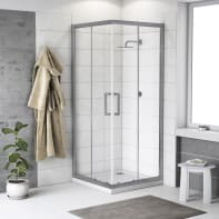 Box doccia scorrevole 70 x 70 cm, H 190 cm in alluminio e vetro, spessore 6 mm trasparente argento