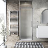 Porta doccia battente Record 81 cm, H 195 cm in vetro temprato, spessore 6 mm satinato satinato