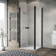 Porta doccia 80 x 80 cm, H 200 cm in vetro, spessore 6 mm spazzolato nero