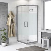 Box doccia quadrato scorrevole Quad 90 x 90 cm, H 190 cm in vetro temprato, spessore 6 mm serigrafato argento