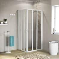 Box doccia rettangolare pieghevole 70 x 90 cm, H 185 cm in vetro temprato, spessore 3 mm trasparente bianco