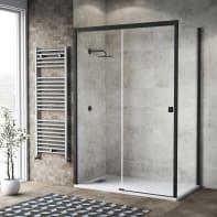 Box doccia scorrevole 130 x , H 200 cm in vetro, spessore 6 mm trasparente nero
