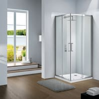 Box doccia quadrato scorrevole Slimline 70 x 70 cm, H 190 cm in vetro, spessore 6 mm trasparente argento