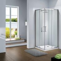 Box doccia quadrato scorrevole Slimline 90 x 90 cm, H 195 cm in vetro, spessore 6 mm trasparente argento