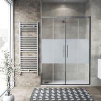 Porta doccia scorrevole Record 140 cm, H 195 cm in vetro temprato, spessore 6 mm serigrafato satinato