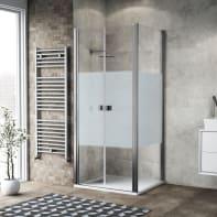 Porta doccia 80 x 80 cm, H 200 cm in vetro, spessore 6 mm serigrafato cromato