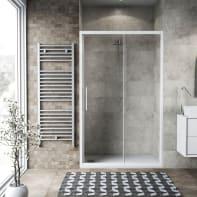 Porta doccia scorrevole Record 116 cm, H 195 cm in vetro temprato, spessore 6 mm trasparente bianco