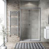 Porta doccia scorrevole Record 140 cm, H 195 cm in vetro temprato, spessore 6 mm trasparente satinato