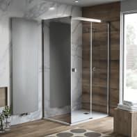 Porta doccia 135 x 80 cm, H 200 cm in vetro temprato, spessore 8 mm trasparente nero