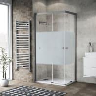 Box doccia scorrevole 70 x 90 cm, H 200 cm in vetro, spessore 6 mm serigrafato argento