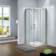Box doccia quadrato scorrevole Slimline 100 x 100 cm, H 195 cm in vetro, spessore 6 mm trasparente argento
