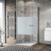 Box doccia pieghevole 80 x 90 cm, H 200 cm in vetro, spessore 6 mm serigrafato grigio