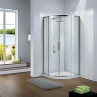 Box doccia semicircolare scorrevole Slimline 80 x 80 cm, H 195 cm in vetro temprato, spessore 6 mm trasparente cromato