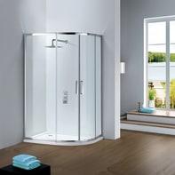 Box doccia semicircolare scorrevole 80 x 90 cm, H 195 cm in vetro temprato, spessore 6 mm trasparente argento