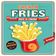 Quadro su tela French Fries 30x30 cm
