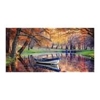 Quadro su tela Barchetta nel fiume 135x45 cm