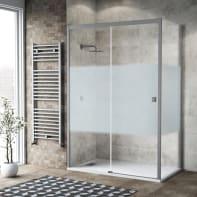 Box doccia scorrevole 135 x 80 cm, H 200 cm in vetro, spessore 6 mm serigrafato argento