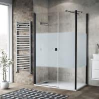 Box doccia battente 120 x 80 cm, H 200 cm in vetro, spessore 6 mm serigrafato nero