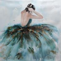 Quadro dipinto a mano Ballerina 100x100 cm