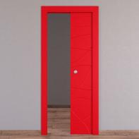 Porta scorrevole a scomparsa Wind Red rosso L 70 x H 210 cm reversibile