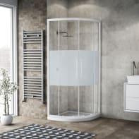 Box doccia semicircolare scorrevole 80 x 80 cm, H 195 cm in vetro, spessore 6 mm serigrafato bianco