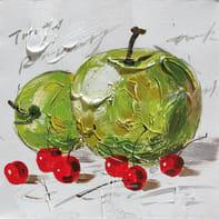 Quadro dipinto a mano Mele Verde 30x30 cm