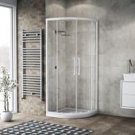 Box doccia semicircolare scorrevole 90 x 90 cm, H 195 cm in vetro, spessore 6 mm trasparente bianco