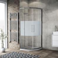 Box doccia semicircolare scorrevole 90 x 90 cm, H 195 cm in vetro, spessore 6 mm serigrafato argento
