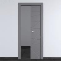 Porta scorrevole a scomparsa Wind Ash cenere L 80 x H 210 cm reversibile