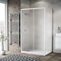 Box doccia scorrevole 120 x 80 cm, H 195 cm in vetro, spessore 6 mm spazzolato bianco