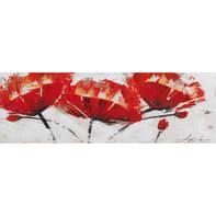 Quadro dipinto a mano Papaveri 90x30 cm