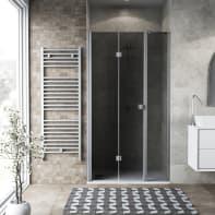 Box doccia pieghevole 130 x , H 201.7 cm in vetro, spessore 6 mm fumé argento
