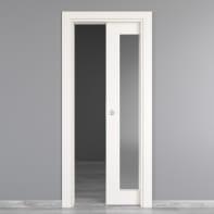 Porta scorrevole a scomparsa Moma Vetro bianco L 80 x H 210 cm reversibile