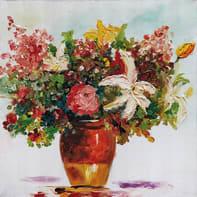Quadro dipinto a mano Vaso Fiori 60x60 cm
