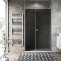 Box doccia battente 120 x 80 cm, H 200 cm in vetro, spessore 6 mm fumé argento