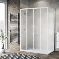 Box doccia scorrevole 160 x 80 cm, H 195 cm in vetro, spessore 6 mm spazzolato bianco